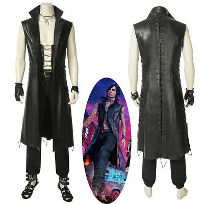 New DMC 5 Devil May Cry 5 Vitale V Cosplay Costume Men Black Coat (Dmc 5 Kostüm)