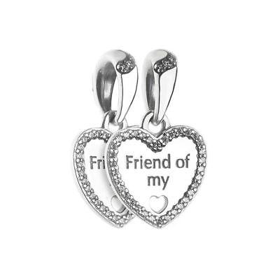 Authentic Silver Hearts of Friendship Dangle Bracelet Charm Best Gift for - Friendship Charm Bracelets