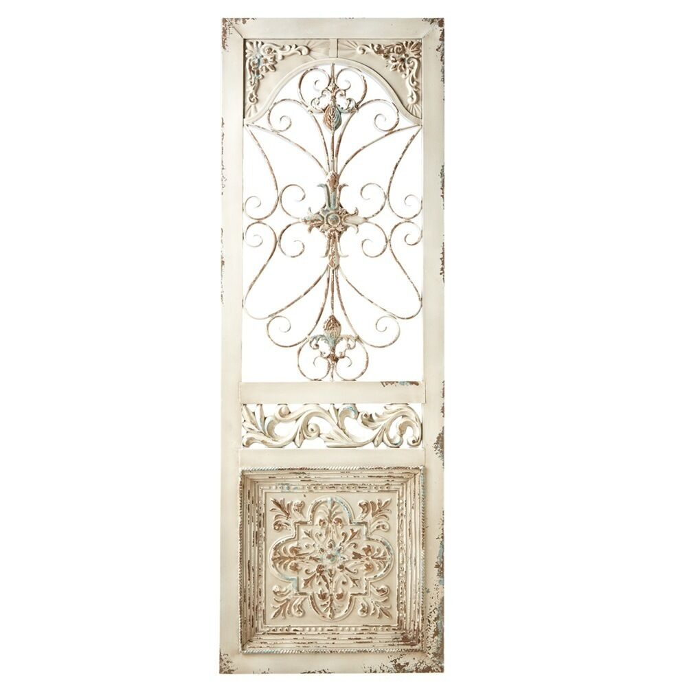 Antique Style Ivory Scroll Iron Distressed Door Panel,20''L X 59''H.