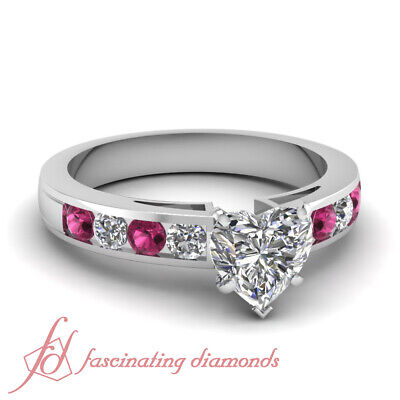 1.30 Ct Heart Shaped E-Color Diamond & Round Pink Sapphire Engagement Ring GIA
