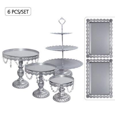 6PCS Crystal Silver Metal Cake Holder Wedding Dessert Stand Set Cupcake Plates - Silver Cupcake Stand