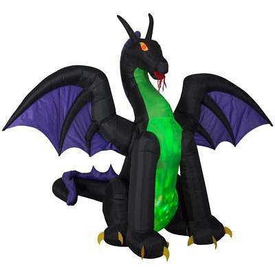 Halloween Gemmy 11 ft Animated Projection Dragon with Wings Airblown Inflatable