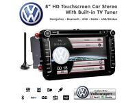 "8"" HD TouchScreen SatNav Bluetooth USB SD Car Stereo With Digital TV Tuner For VW Skoda Seat"
