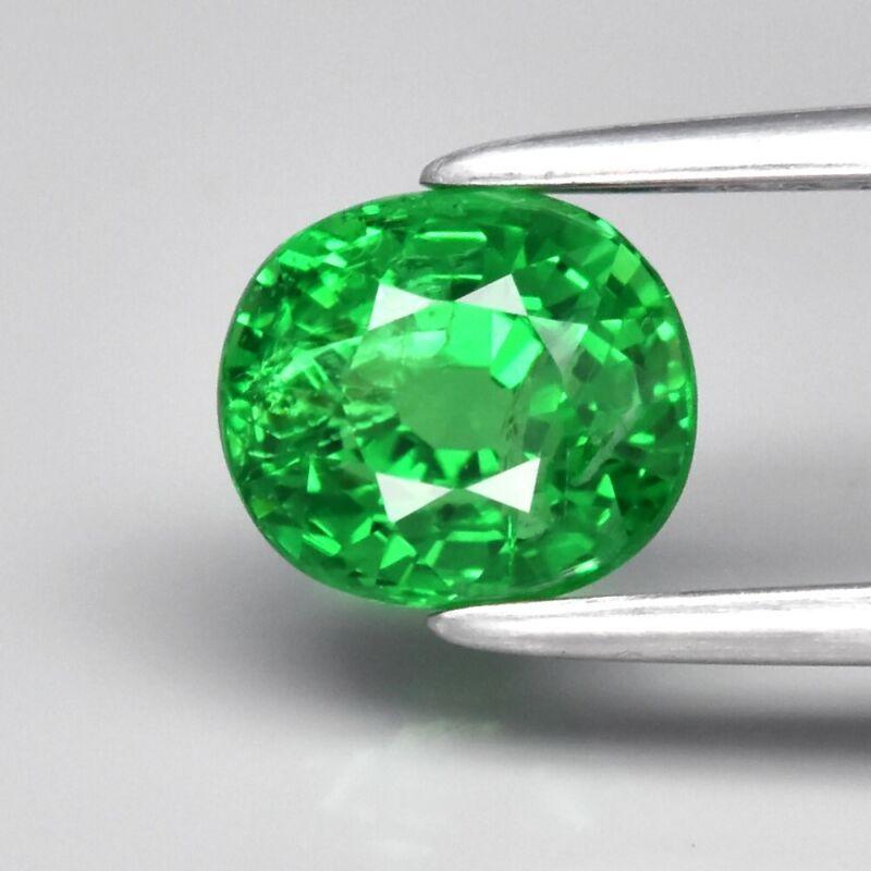 1.37ct 6x5.4mm Oval Natural Shocking Green Tsavorite Garnet Tanzania