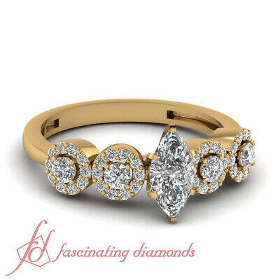 1 Carat Marquise Cut Yellow Gold Pave Set Diamond Engagement Ring GIA Certified