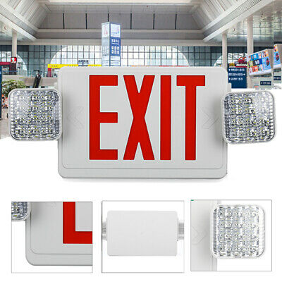 Led Red Exit Sign Emergency Light Adjust Two-head Battery Backup Combo Lamp G1c8