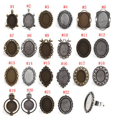5pcs Oval Blank Cameo Cabochon Setting Tray Antique Tone Ring Flatback Setting