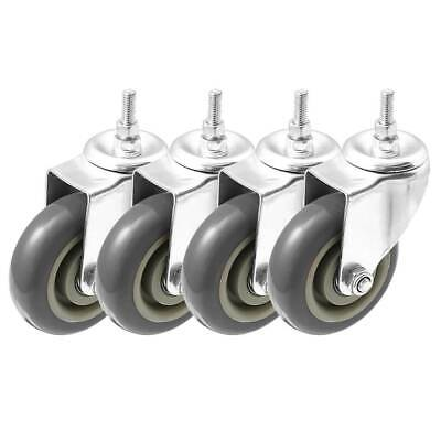 4 Pack 4 Inch Stem Casters Swivel No Brake Grey Pu Caster Wheels