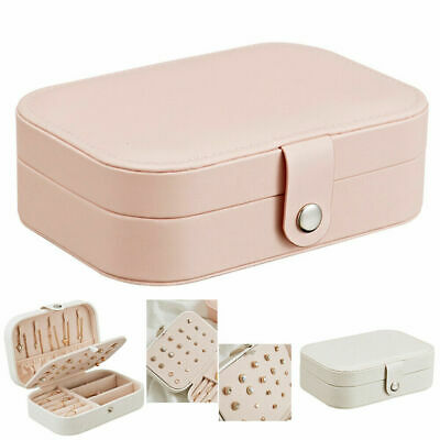 Jewelry Box Ring Earring Necklace Storage Case Travel Organizer Pink Women Gift (Necklace Boxes)