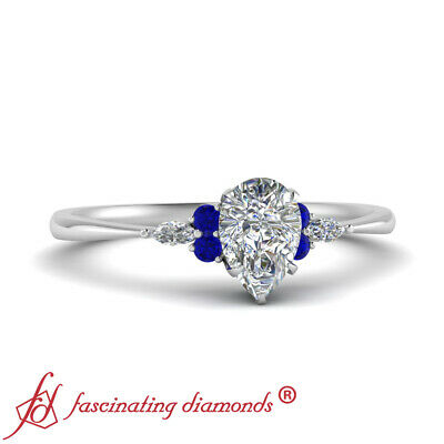 1 Carat Pear Shaped Diamond And Sapphire Seven Stone Engagement Ring For Women