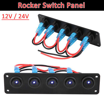 5 Gang On/Off Rocker Switch Panel LED Light Car RV Marine Boat Waterproof 12/24V