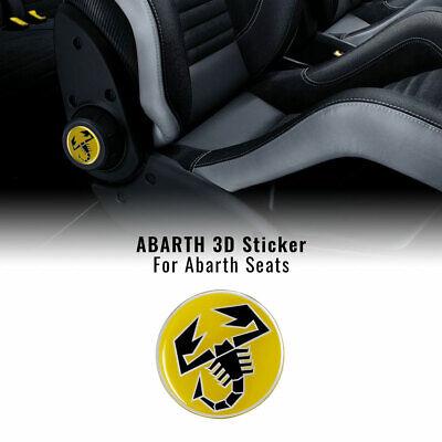 Adesivi 3D per Sedili Fiat 500 Abarth, Scorpione Giallo, 2 Pezzi, Diametro...