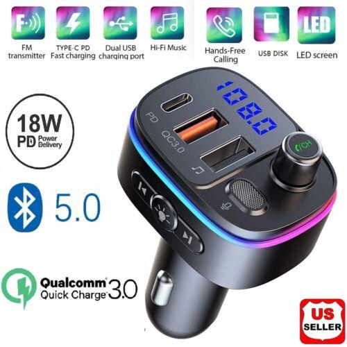 Bluetooth 5.0 FM Transmitter for Car, QC3.0 Type-C PD 18W Wireless FM Radio Kit Consumer Electronics