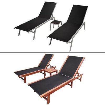 Liegestuhl-set (Sonnenliege Set Gartenliege Relaxliege Gartenmöbel Holz Liegestuhl mit Tisch)
