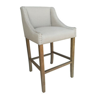 "NEW! MODERN WOOD/LINEN BARSTOOL - 30"" CONTEMPORARY BAR/COUNTER STOOL - PARKLAND"