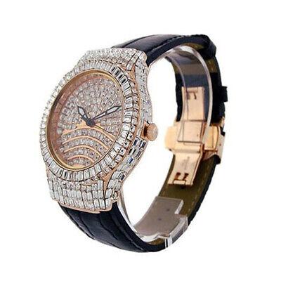 Men's 3.00 ctw A++ Baguette Full Cz's Rose Gold BlingMaster Leather Wrist Watch