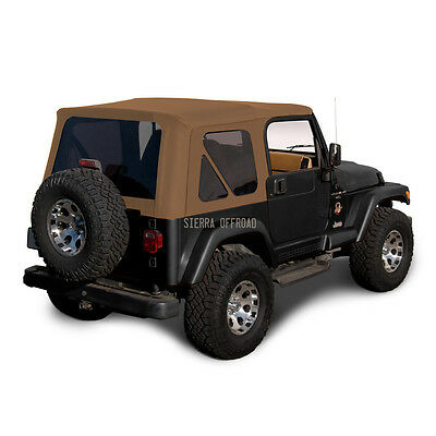 Jeep Wrangler TJ Soft Top, 1997-2002, Tinted Windows, Sailcloth Saddle - Jeep Wrangler Tj Window