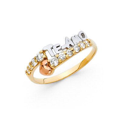 Women 14k Yellow Tri Tone Real Gold CZ I love You Heart TE-AMO Fashion Ring Band