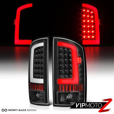 "2002-2006 Dodge RAM 1500 2500 3500 Black OLED ""NEON TUBE"" Tail Lights Lamps Pair"