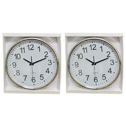 Harko Wall Clock 15 Inch Round Silver Rim Large Analog Office Home Clock, 2-PK