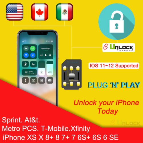 Cell-Unlock CHIP iPhone Sprint ATT TMOBILE 7 8 Plus X 11 max Pro IOS 13.5