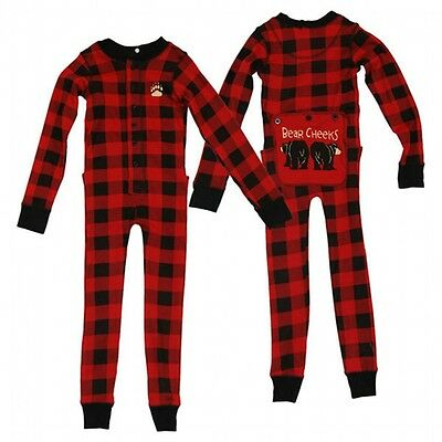 Lazy One Bear Cheeks Red & Black Plaid Adult Flapjacks Pajamas Long Johns
