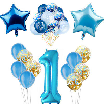 Blue Theme Party Boy Birthday Baby Shower Balloon Banner Paper Decor Supplies (Boys Baby Shower Themes)