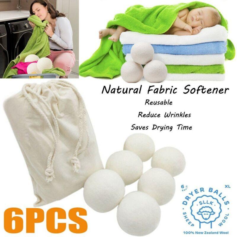 Sheep 6 Pieces Premium Wool Dryer Balls Reusable Natural Fab