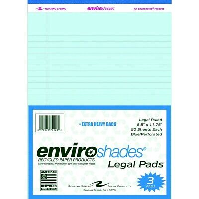 Enviroshades Legal Pad 8-12 X 11-34 Inches Blue 50 Sheets Pack Of 3