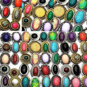 Newest 10PCS Wholesale Jewellery Retro Big Stone Rhinestone Adjustable Rings Top