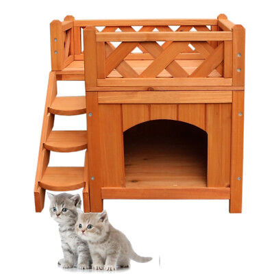 2 Layers Wooden Pet House Cat Room Dog Puppy Kennel Indoor Outdoor with Balcony