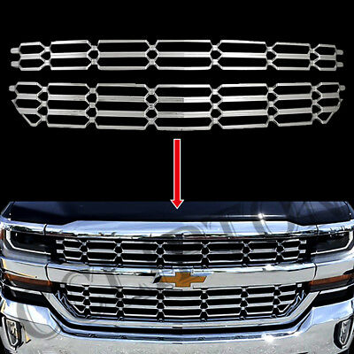 Chrome Grille Overlay Snap On Insert Fits For 2016-2018 Chevy Silverado 1500 Chrome Plated Insert