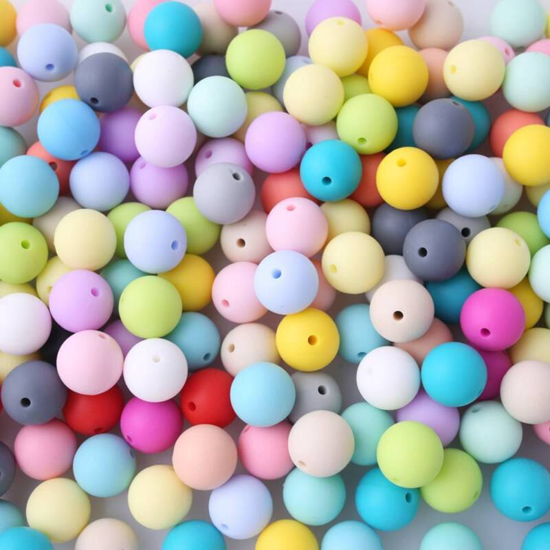 10Pcs 12mm Silicone Loose Beads Baby Teether Teether DIY Nec