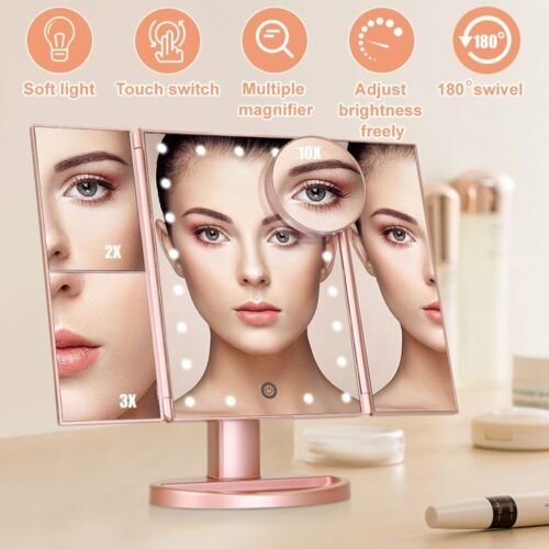 Folding LED Light Mirror Make Up Cosmetic Magnifying Vanity