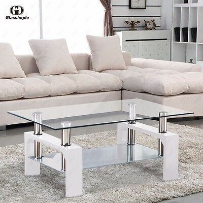 Rectangular Glass Coffee Table Shelf Chrome Corpse-like Wood Living Room Furniture