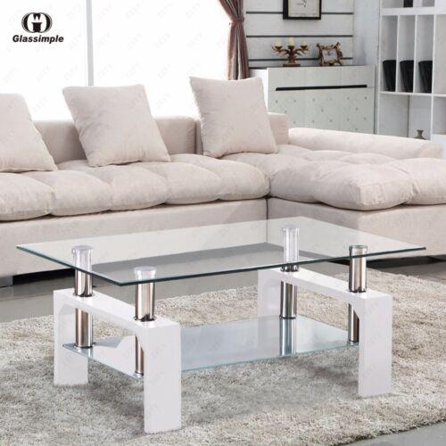 Rectangular Glass Coffee Table Shelf Chrome White Wood Livin