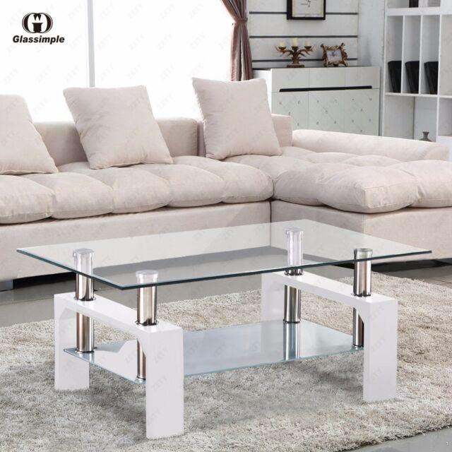 DESIGNER Glass Rectangular Coffee Table Shelf Chrome Wood Living ...
