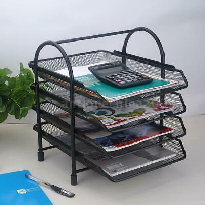4-tier File Document Letter Paper Tray Office Desktop Organizer Metal Mesh