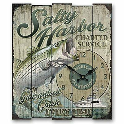 (American Expedition Wall Clock Salty Harbor Striped Bass Wood Fishing Mancave)