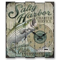 American Expedition Wall Clock Salty Harbor Striped Bass Wood Fishing Mancave