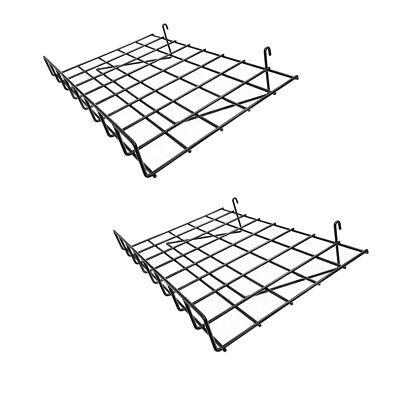 2 Pc Gloss Black 24 X 15 Wire Grid Shelf W Lip Shelves Gridwall Display