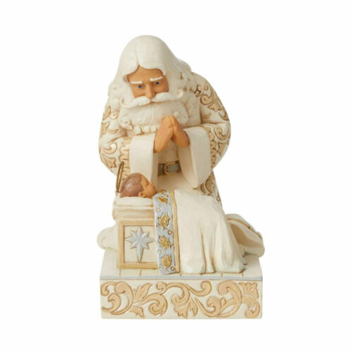 Jim Shore HOLIDAY LUSTRE SANTA WITH BABY JESUS-KNEELING BEFORE A KING 6009397