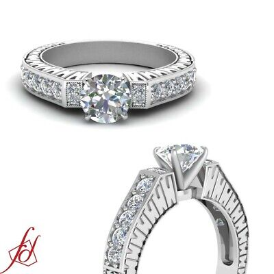 1.18 Ct Round Very Good Cut Diamond Pave Set Engagement Ring With Milgrain GIA