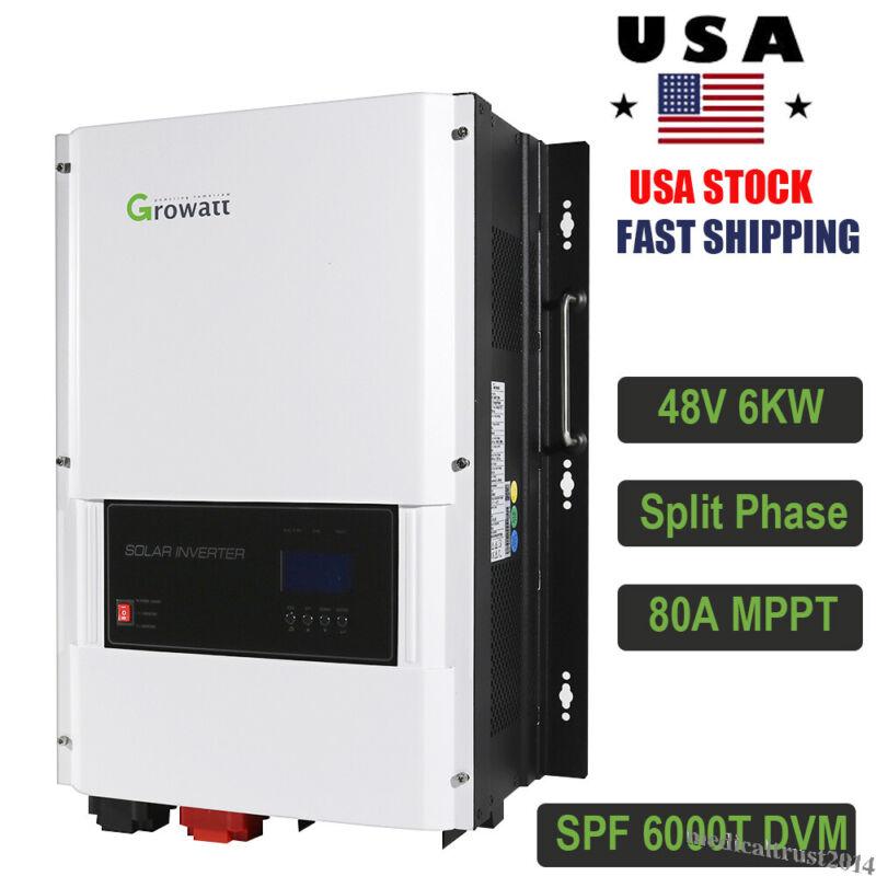 48V 6KW (6000W) Growatt 120V/ 240VAC Split Phase Solar Inverter 80A MPPT Charger