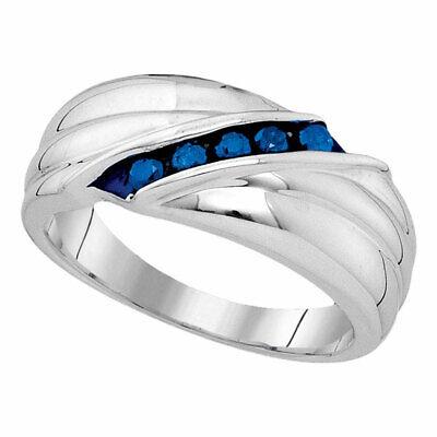 Plata de Ley Hombre Redondo Azul Mejorado Diamante Boda Aniversario Anillo Banda