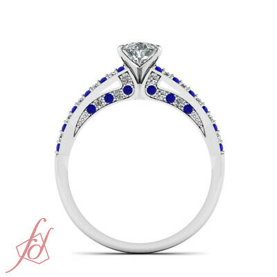 .85 Ct Pear Shaped Diamond And Sapphire Split Band Womens Engagement Rings GIA 4
