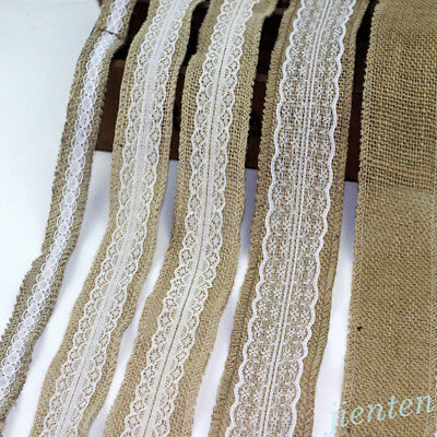 5M New Natural Jute Burlap Hessian Ribbon Tape Lace Trims Rustic Wedding Decor