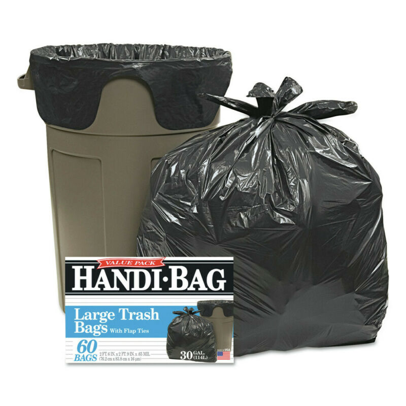 Handi-Bag HAB6FT60 60-Pc. 30 x 33 in. Large 30 Gal. Cap. Trash Bags (Black) New