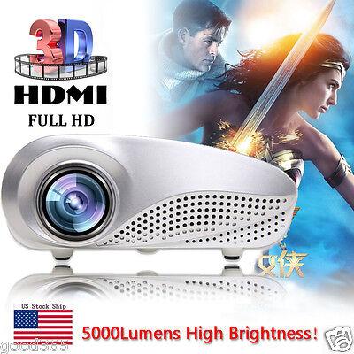 5000Lumens HD 1080p Portable Projector Home Cinema 3D LED AV TV VGA USB HDMI SD