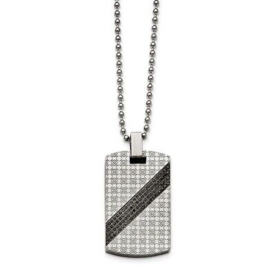 Stainless Steel Polished 1 2Ct Tw. Diamond Dog Tag Necklace 46x24mm 32.59gr Ct Tw Polished Diamond Necklace